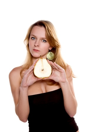 beautiful woman with juicy pear photo