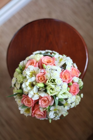 pink and white wedding bouquet photo