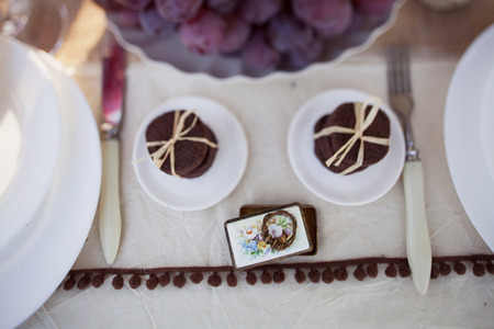 decorated wedding table in the park and wedding ring photo