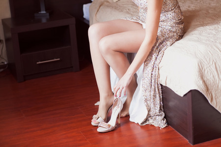 pearly: bride dresses wedding shoes Stock Photo