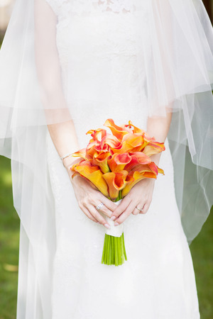 wedding bouquet orange calla  photo