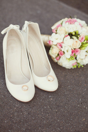 wedding rings, bouquet, bridal shoes  photo