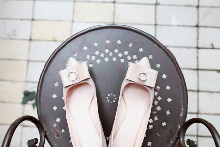 wedding rings and bridal shoes  photo