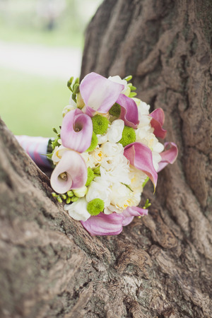 white and pink wedding bouquet in park photo