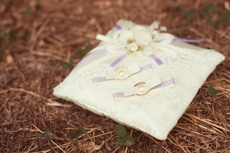 wedding rings on a pillow photo