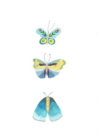 Blue Butterflies. Set. Watercolor illustration