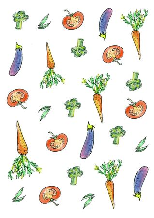 Set, collection of fresh vegetables. Hand drawn watercolor painting on white background. Stock Photo