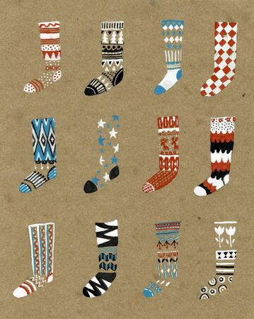 Illustration with Christmas socks, print for textile postcards