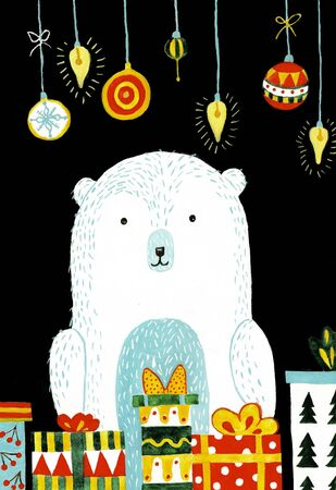 Polar bear cartoon character. A Cute Polar bear hat illustration for Merry Christmas and Happy New Year invitation card.