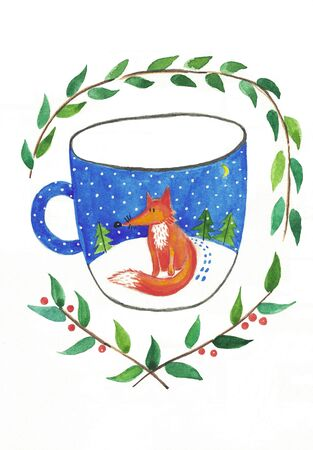 Cute, fun cozy winter cards. Hand drawn holiday postcards, poster, invitation design. hello winter. illustration. Christmas illustration of a mug with a fox Stockfoto