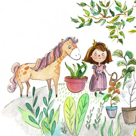 illustration with a princess and horse Banco de Imagens