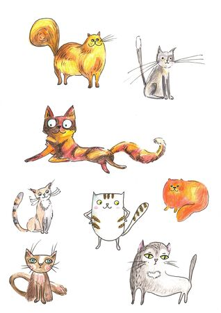 Set of cute cats in cartoon style. Illustration of Colour cat set for greeting card design, t-shirt print, inspiration poster Stock Photo