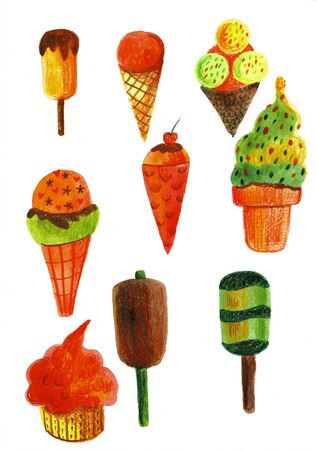 Set with bright, tasty and appetizing ice cream painted in watercolor on a white background.