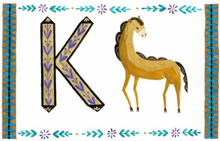 Horse illustration in the folk style. Nordic ornaments, folk art pattern.