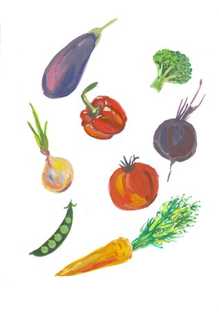 Set, collection of fresh vegetables. Hand drawn watercolor painting on white background. Reklamní fotografie - 132211014