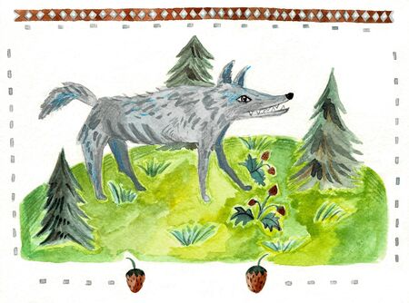 Wolf, cartoon animal watercolor illustration. Stockfoto