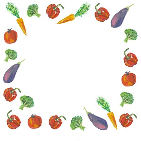 A frame of watercolor vegetables on a white background.