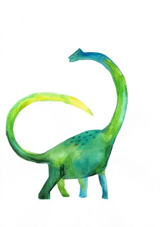 watercolor green dinosaur on white background. childs drawing. Banco de Imagens