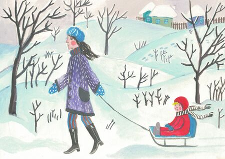 Winter, mother with baby on sled, illustration.