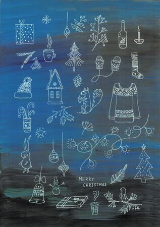 Christmas set of hand drawn doodles in simple style. Christmas accessories as christmas tree, angels, candy canes, wreath, santa and more on dark blue background.