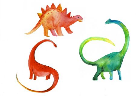 Cute dinosaurs watercolor illustration. Hand drawn design elements set for t-shirts, posters and other baby stuff. Tyrannosaurus rex, pterodactyl and triceratops round design element in boho style