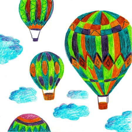 Illustration, decorative design template. Bright retro card with hot air balloons and Follow your dreams they know the way text.