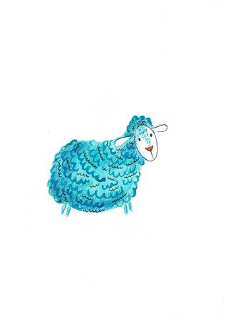 Watercolor illustration of a sheep.