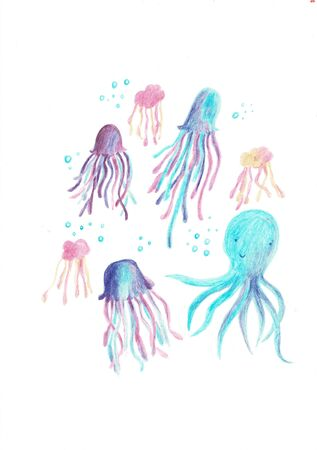 Adorable octopus, squid and jellyfish characters set.