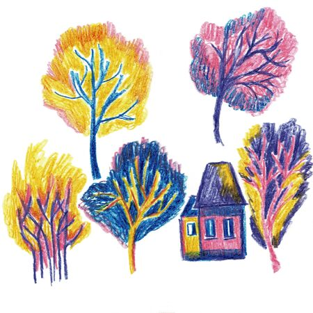 Autumn trees and house, illustration
