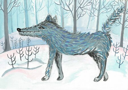 Grey wolf in cartoon style in the winter forest Stockfoto