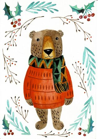 Watercolor illustration of a Christmas bear in a jacket