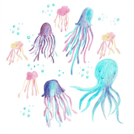 Bright illustration with jellyfish and octopus purple colors