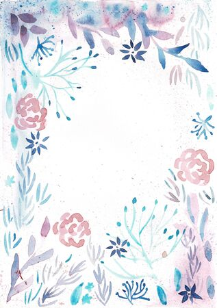 Flower Frame blue Color Watercolor