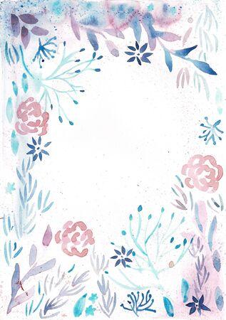 花框蓝色水彩