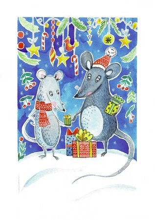 Christmas illustration with watercolor rats 스톡 콘텐츠