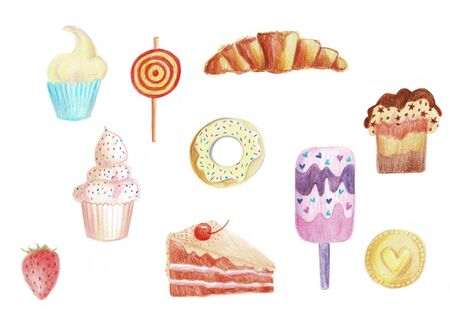 A set of sweets on a white background, illustration.