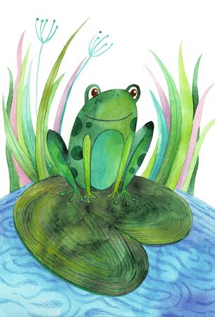 A watercolor illustration with a cute frog. Perfect for kids cartoon magazine