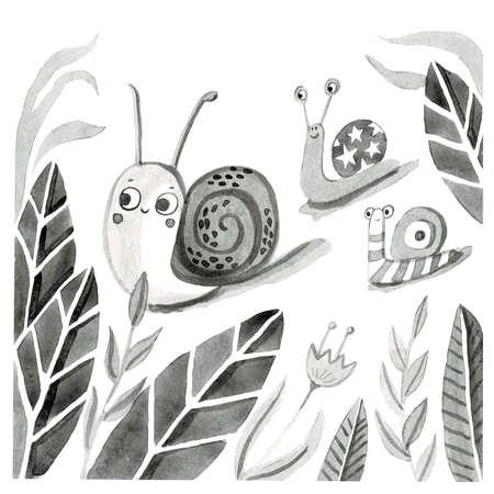 Black white illustration of snails