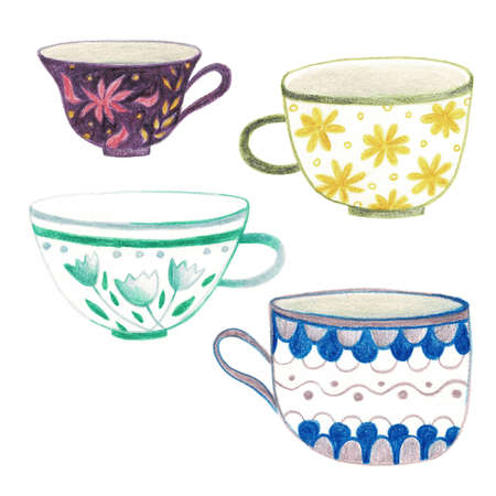 A set of beautiful tea cups. Illustration of dishes. Stock Photo