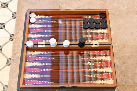 Backgammon game End Stock Photo