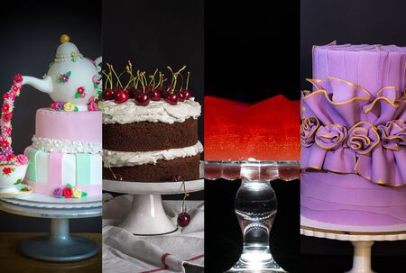 Collage from different pictures of cakes , birthday cakes Imagens - 132210505