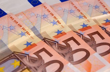 unc: Euro banknotes close up