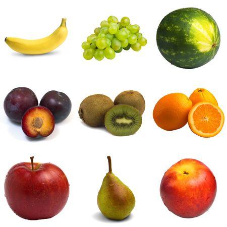 sampler: Fruit Sampler - isolated fruits  Stock Photo
