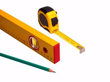 Messung der Band, Bleistift und Ebene isolated over white background Standard-Bild - 7760034
