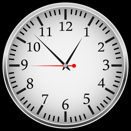 arabic numerals: A modern mechanical clock with arabic numerals