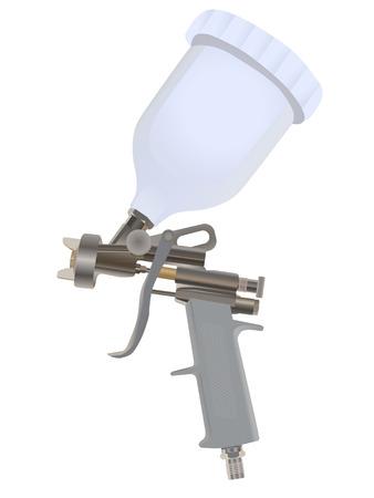 aerografo: Pistola aislado en un backgraund blanco
