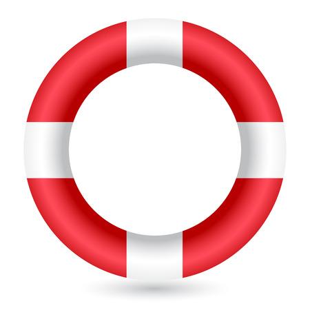 canotaje: Anillo de guardia de seguridad rojo sobre fondo blanco