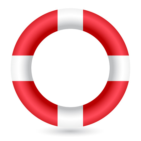 life bouy: Red safe guard ring against white background Illustration