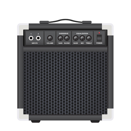 overdrive: guitar combo isolated on a white background