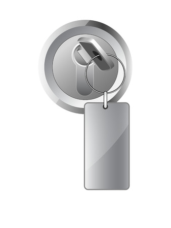 metal key in the lock with a label on the ring Stock Vector - 9057469